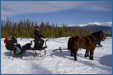 A private sleigh ride enjoys the sun in Winter Park, CO